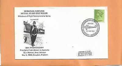 50th  ANNIV FIRST SOLO FLGHT BY WOMAN JOHNSON MAY 1980   MILESTONES FLIGHT # 87