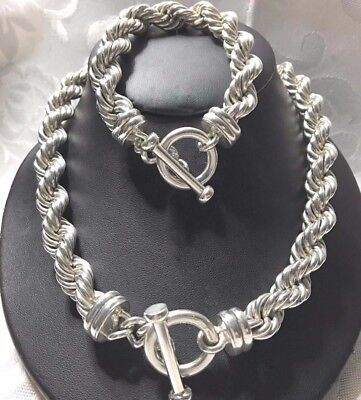 STERLING SILVER TAS Necklace Rope Bracelet Set TOP QUALITY Chunky VHEAVY HM 275g