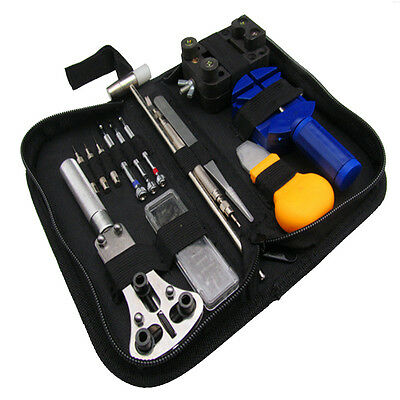 15pcs/set Watch Repair Tools Kit Watchmakers Set With Leather Sheath Bits/Pins