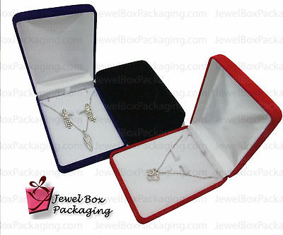 1x Flocked Velour Necklace Earring Set Jewelry Gift Box