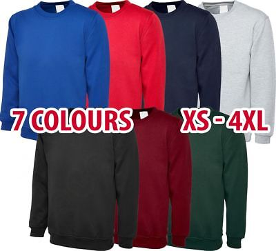 Mens & Womens Sweatshirt Cotton/Polyester Jumper Plain Sweater Work Casual lot