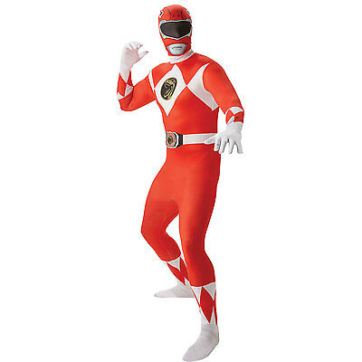 RED Adult Mighty Morphin Power Rangers 2nd Skin Fancy Dress Costume 810945