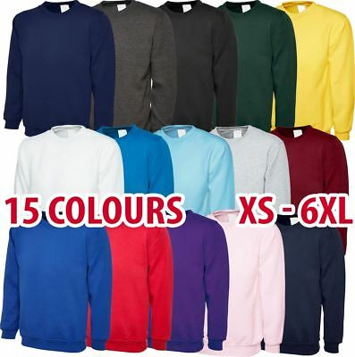 Mens & Womens Classic Sweatshirt Cotton/Polyester Jumper Plain Sweater lot