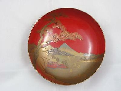 Antique Japanese lacquer sake cup with seascape 1900-15 #4203