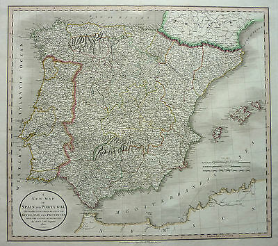 Cary: Old Coloured Copperplate Map Portugal Spain Spain Balearic Islands; 1801