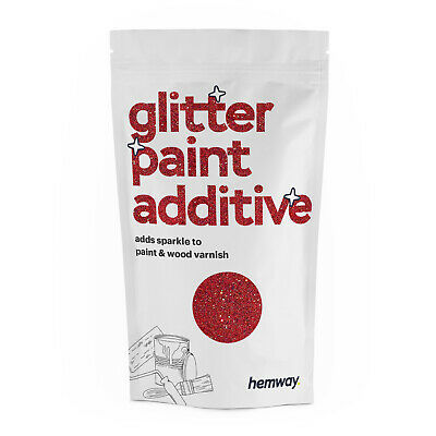 Hemway Red Crystal Glitter for emulsion wall paint 100g sparkle DIY
