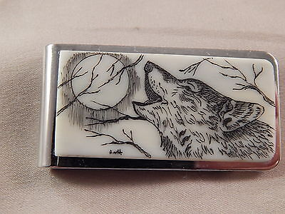 Bovine Silver Money Clip - Howling Wolf