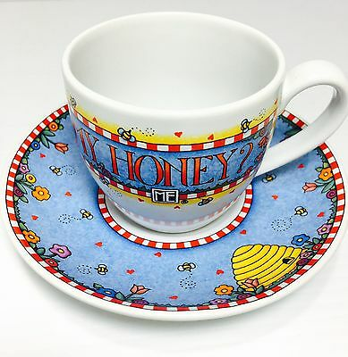 Mary Engelbreit WON'T YOU BEE MY HONEY Cup & Saucer Set ME Ink & Andrews McMeel
