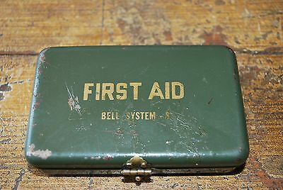 "VINTAGE BELL SYSTEM S FIRST AID KIT Tin-Empty! Cool! 4"" X 2 5/8"" X 1"