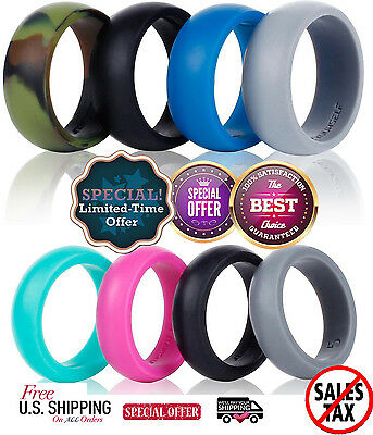 4 Silicone Wedding Band Ring Men or Women Safe Flexible Antibacterial Rubber