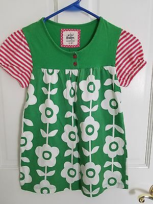 Mini Boden Girls Top 11-12Y Striped Sleeve Cotton Green/White Flower