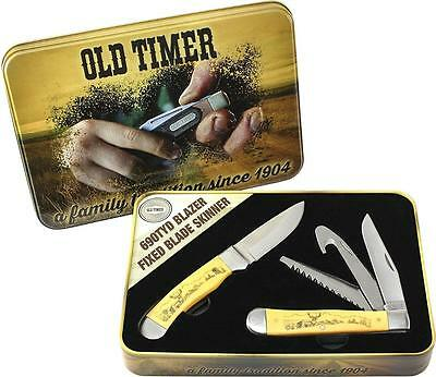 Schrade Old Timer Scrimshaw 2 Piece Knife Tin Set - !  A Deadly Hunting Combo !