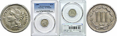 1889 Nickel Three Cent Piece PCGS Genuine