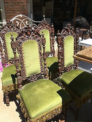 4 Beautiful Jacobean antique chairs, green velvet seats, heavily carved