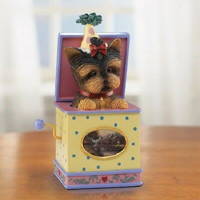 Toying Around Yorkie Dog  Figurine in Basket Bradford Exchange Thomas Kinkade