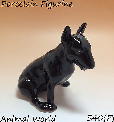 Bull Terrier porcelain statue dogs Pitbull Made in Russia Black color