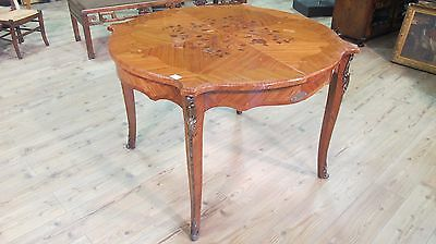 Extendable table round dining furniture wood inlaid antique style 900