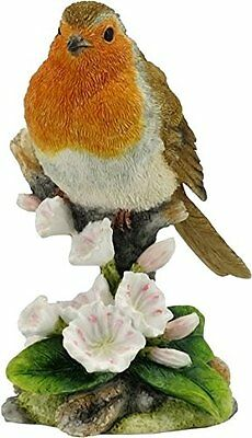 "Robin Bird Figurine 3.5"" High Birds Polystone New in Box Flowers Branch"