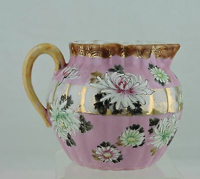 Antique Creamer/pitcher Pink,gold,hand Painted Chrysanthemum Flowers