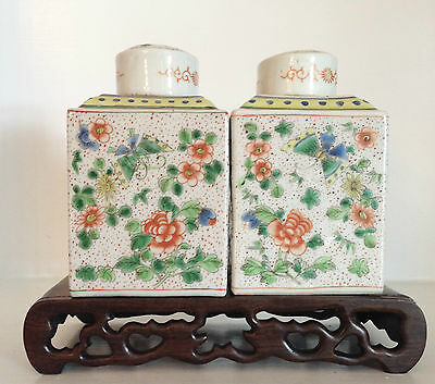 Pair Vintage Old Chinese Export Porcelain Famille Verte Tea Caddies Marks ~Stand