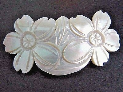 Vintage Mother Of Pearl Hair Barrette Clip Flowers Carved Victorian Styling