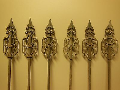 Set Of 6 Antique Architectural Cast Iron Cemetery Fence Post Ornate Spear Tops