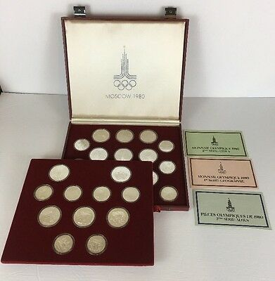 1980 Moscow Olympic UNC Set - 28 Coins Roubles - 21 Oz Silver