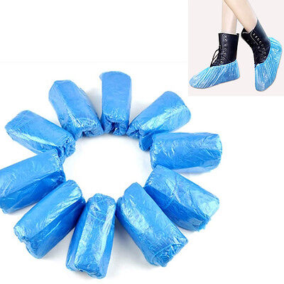 100X Boot Covers Plastic Disposable Shoes Cover Overshoes Cleaning Waterproof