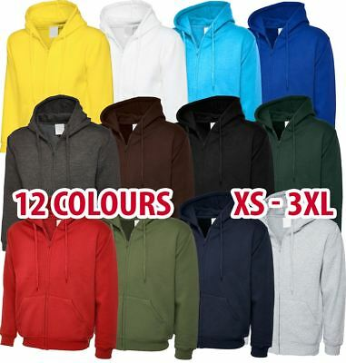 Mens & Womens Full Zip Hooded Sweatshirt Hoodie Jumper Sweat Top Cotton Lot