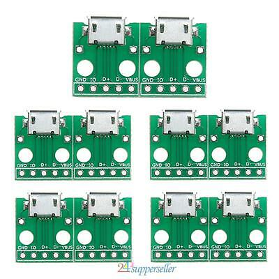 #sup 10pcs MICRO USB to DIP Adapter 5pin female connector B type pcb converter