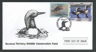 NUNAVUT TERRITORY NUW2d 2000 FIRST DAY COVER FDC ARCTIC LOON BY CYNTHIE FISHER