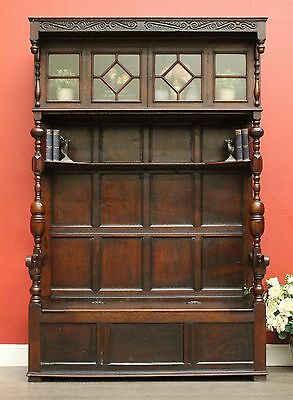 Antique English Oak Hall Stand Coat Rack with Lift Lid Blanket Box Bench / Seat