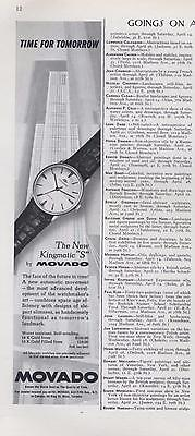 "1962 Movado PRINT AD Watch  features the New Kingmatic ""S"" great documenting ad"