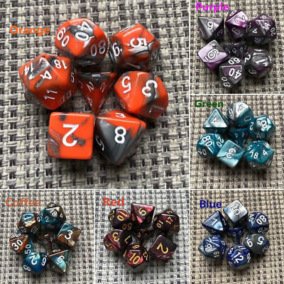 7pcs/Set TRPG Game Dungeons & Dragons Polyhedral D4-D20 Multi Sided Dices New