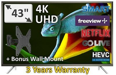 "TCL 43"" UHD 4K Smart Netflix Freeview TV New 2017 Model 43P20US 3 years Warranty"