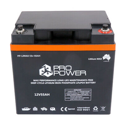 Pro Power 12V Volt 55ah Lithium LiFePo4 High Discharge 5C Battery Solar 4WD Cara