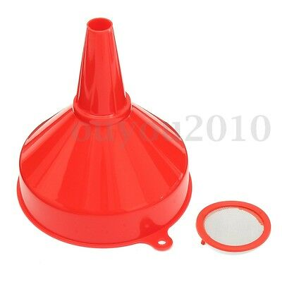 200mm Plastic Funnel Water Oil Fuel Petrol Car Van Tractor Truck Red w/ Filter