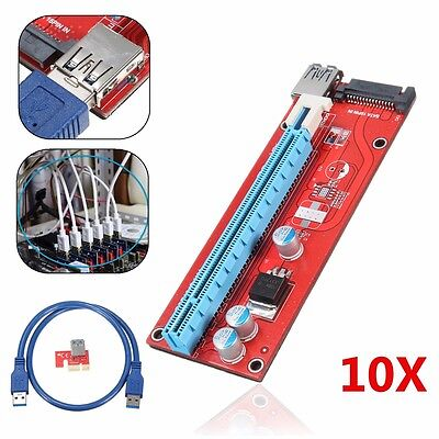 10X USB 3.0 PCI-E Express 1x To 16x Extender Riser Card Adapter Power Cable 60CM