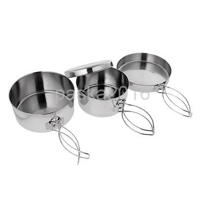 4pcs Portable Stainless Steel Backpacking Camping Cookware Cook Pot Pan Set
