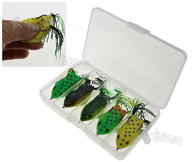 5Pcs 3D Large Frog Topwater Fishing Lure Plugs Crankbait Hooks Bass Baits Tackle