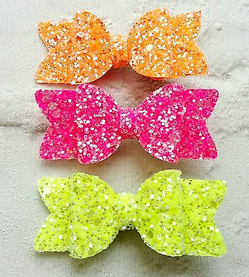 Set Of 3 Pink Yellow Orange Neon Glitter Fabric Hair Bow Clips 2.5""