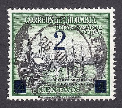 1956 Colombia 2c OPTD on 4c SG 873 FINE USED R19249
