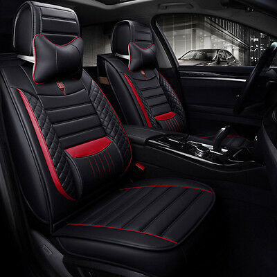 Universal Car Seat Cover Cushion Luxury PU Leather Front+Rear Set For 5-seat Car
