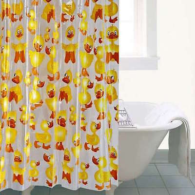 Soft Touch PEVA Cartoon Rubber Duck 180 x 180 Shower Curtain - Easy Glide Hooks