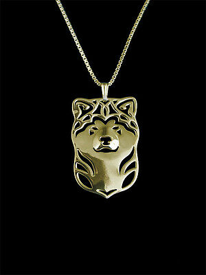 Akita Dog Pendant Necklace Gold ANIMAL RESCUE DONATION