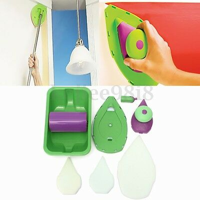 Point Paint Pad Painting Roller Tray 2 Sponge Set Kit Brush Home Wall Decor Tool