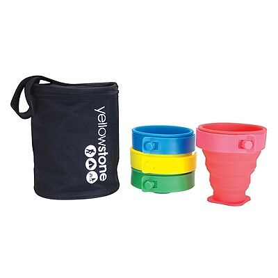 YELLOWSTONE Pack Away Cup Set 4 Silicon Folding Compact Camping Picnic Festival