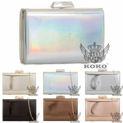 New Womens Hard Compact Patent Leather Hologram Evening Party Handbag