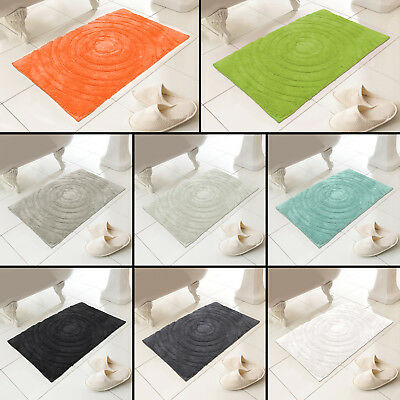 Luxury 100% Cotton Circles Design Heavy Bath Mat Rug 8 Colours New