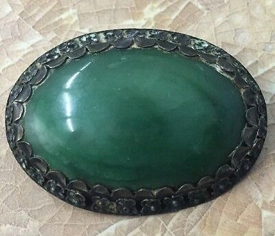 Antique Victorian Era Green Stone Pin / Brooch Oval Elegant Floral Border
